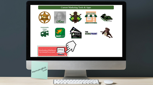 Picture of several icons on computer screen. From left to right: Top Row: Shareff logo, Mona logo, BOE dog logo, BOE Store logo, BOE man on horse logo. Bottom row: Customizeable videos icon, FastApp logo, BOE business cards logo, Homefront logo, BOE dog holding bag icon. Bottom Marketing graphic with hand mouse image