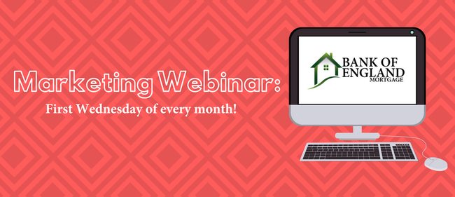 Marketing Webinar HomeFront Graphic: Marketing Webinar: First Wednesday of every month! (features BOE logo)