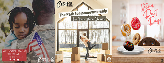 Instagram memorial day, homeownership and donut day graphics
